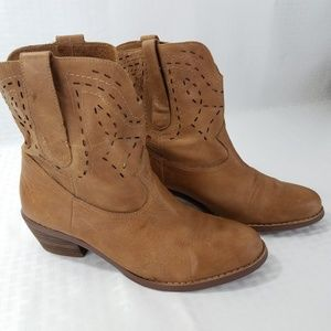 Guess Mid Shaft Cowboy Boots 6.5 M Brown Leather